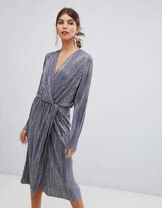 Vila pleated metallic knot midi dress in silver