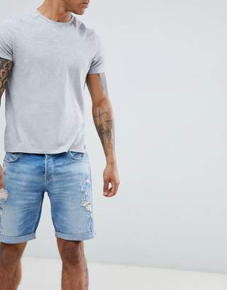 AllSaints Skinny Fit Denim Shorts With Distress In Indigo Blue