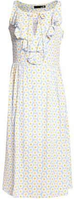 Love Moschino Ruffled Floral-Print Crepe Midi Dress
