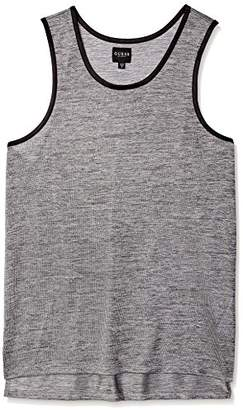 GUESS Men's Sleeveless Shiny Long Line Step Hem Tank