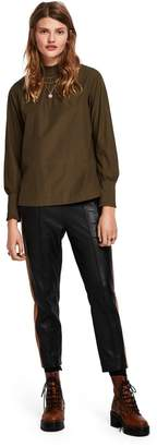 Scotch & Soda Contrast Panel Leather Trousers