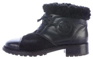 Chanel Quilted Cap-Toe Ankle Boots