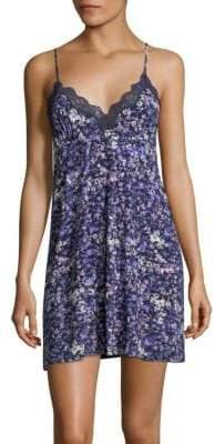 Josie Natori Floral Lace-Trimmed Chemise