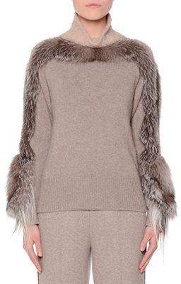 AgnonaAgnona Fur-Trimmed Turtleneck Sweater