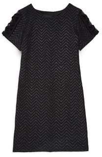 Un Deux Trois Girl's Chevron-Knit Shift Dress