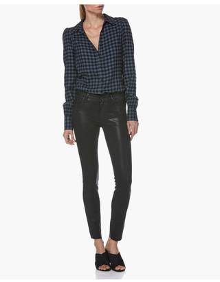 Paige Verdugo Ankle - Black Fox Luxe Coating With Raw Hem