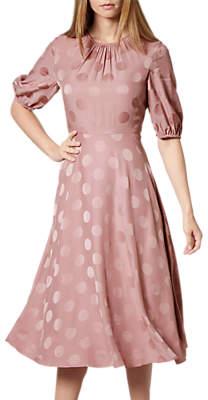 LK Bennett L.K.Bennett Ray Spot Midi Dress, Pink