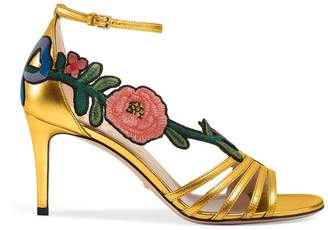 Gucci Embroidered metallic gold sandal