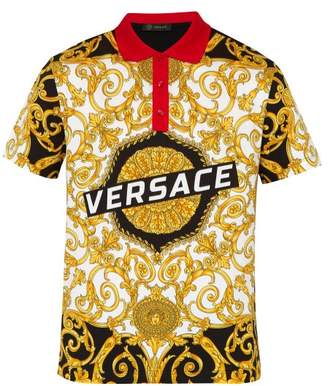 Versace Gold Hibiscus Print Cotton Polo Shirt - Mens - Gold Multi