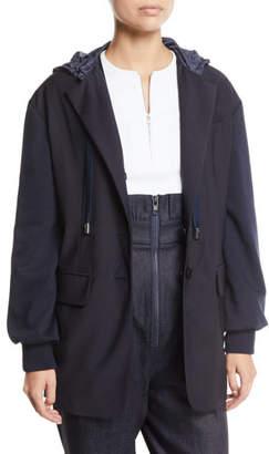 Tibi Reversible Plainweave Two-Button Hoodie Blazer