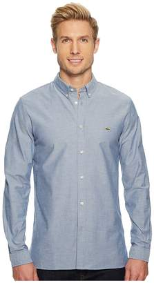 Lacoste Long Sleeve Solid Oxford Stretch Button Down Collar Slim Men's Long Sleeve Button Up