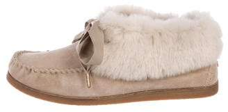 Tory Burch Fur-Trimmed Moccasin Booties