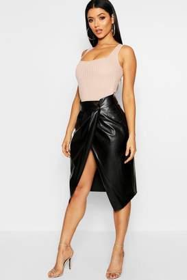 boohoo Pleat Wrap Front Leather Look Midi Skirt