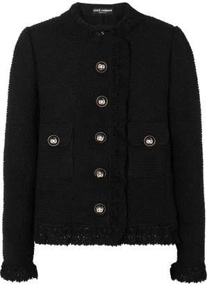 Dolce & Gabbana Crochet-trimmed Wool-blend Tweed Jacket - Black