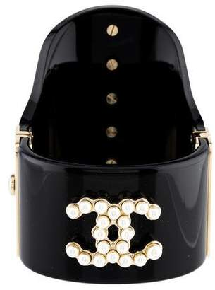 Chanel Faux Pearl Resin Cuff