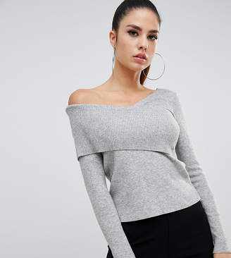 Parallel Lines off shoulder fitted sweater