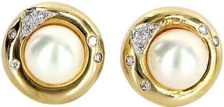 One Kings Lane Vintage Cultured Pearl Diamond Stud Earrings - Precious & Rare Pieces