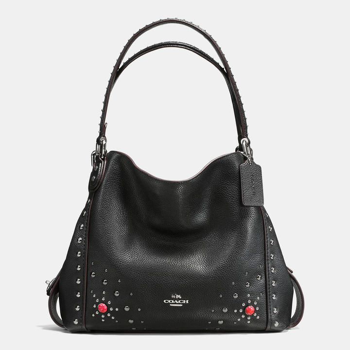 Coach   COACH Coach Western Rivets Edie Shoulder Bag 31 In Polished Pebble Leather
