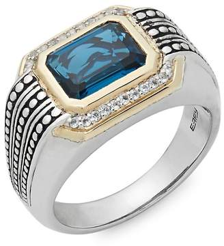 Effy Men's Men's Light Blue Topaz, White Topaz, 925 Sterling Silver and 14K Yellow Gold Ring