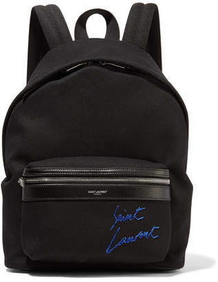 Saint Laurent Leather-trimmed Embroidered Canvas Backpack - Black