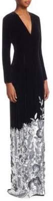 Ahluwalia Velvet Floral Sequin Hem Gown