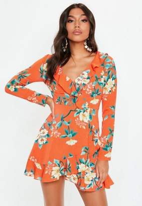 Missguided Orange Long Sleeve Floral Print Frill Tea Dress, Orange