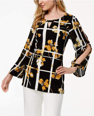 JM Collection Grommet-Trim Printed Top, Created for Macy's