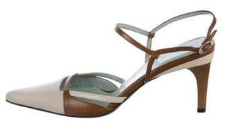Gucci Two-Tone Leather Slingback Pumps