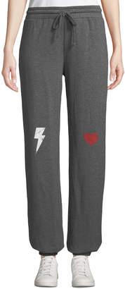 Knit Riot Lightening Bolt Heart Fleece Sweatpants