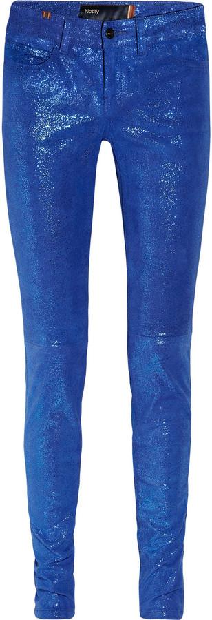 Notify Bamboo glitter-finish stretch-leather skinny pants
