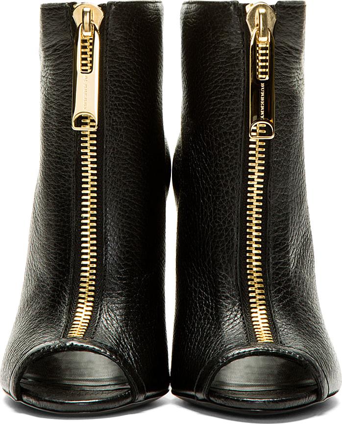 Burberry Black Grain Leather Brooksmead Ankle Boots