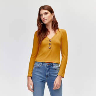 Warehouse V Neck Button Through Rib Top