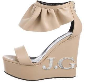 John Galliano Leather Peep-Toe Wedges