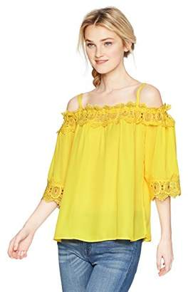 Amy Byer A. Byer Junior's Young Women's Teen Off The Shoulder Top with Crochet Trim,XL