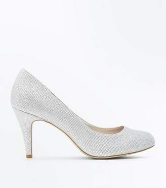 At New Look Wide Fit Silver Glitter Wedding Court Shoes