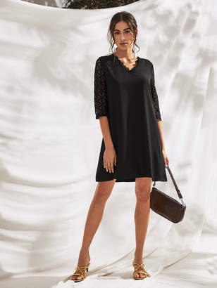 Shein Buttoned Lace Back and Sleeve Dress