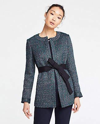 Ann Taylor Belted Tweed Jacket