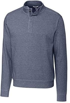 Cutter & Buck Men's Big and Tall Southwik Textured Melange Button Mock Neck Long Sleeve