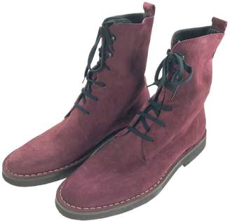 Ann Demeulemeester Burgundy Suede Boots