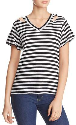 LnA Iceland Cutout Striped Tee