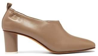 BEIGE Gray Matters - Micol Block Heel Leather Pumps - Womens