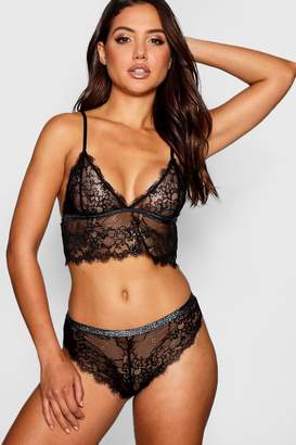 boohoo Reagan Glitter Elastic Eyelash Lace Brief