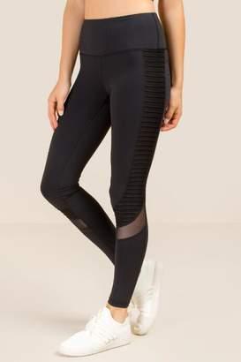 francesca's Nyla Paneled Mesh Insert Legging - Black