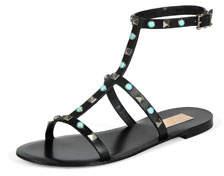 Leather Rockstud & Turquoise Gladiator Sandals Black
