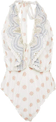 LoveShackFancy Peony Ruffled Broderie Anglaise Cotton Bodysuit