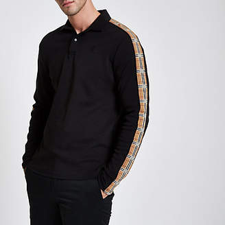River Island Black muscle fit long check sleeve polo shirt