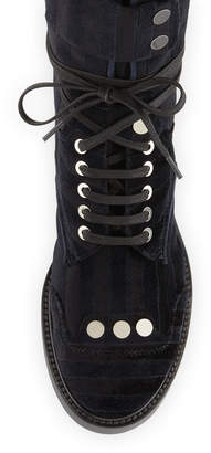 Laurence Dacade Striped Velvet Lace-Up Combat Boot, Black