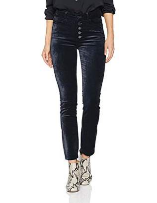 Paige Women's Velvet Hoxton Ankle Peg Jean with Exposed Buttons