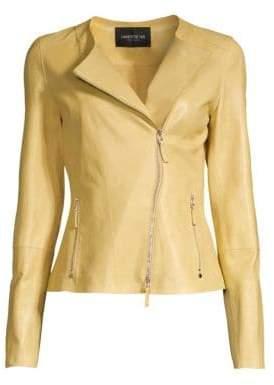 Lafayette 148 New York Women's Slim-Fit Leather Jacket - Green Tea - Size 2