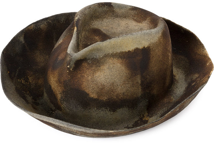 Horisaki Design & Handel burned effect fedora hat